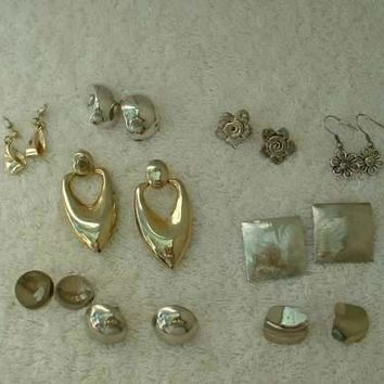 Lot of 9 Silvertone Post Style Earrings Some Vintage Dangle Style Jewelry
