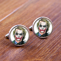 Cuff  links,JOKER  cufflinks,Weeding gift,personnality gift,Photo cufflinks,Superhero cufflinks ec002