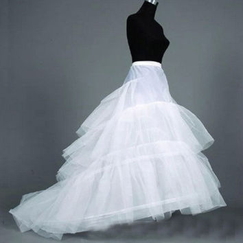 52015 Wedding Dress Crinoline Bridal Petticoat Underskirt 2 Hoops with Chapel Train