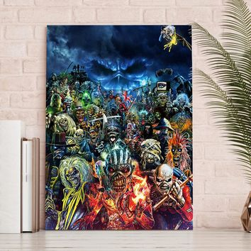 1 Panel Canvas Print Abstract Picture Iron Maiden Heavy Metal Skulls Poster