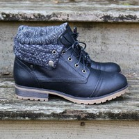 Mountain Trek Black Cuffed Ankle Boots