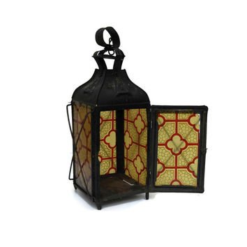 Antique Tin Lantern. French Storm Lantern. Antique Hurricane Lamp. French Candle Holder. Stained Glass Lantern.