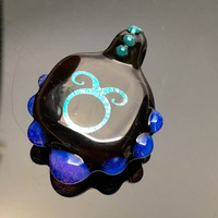 Custom Astrology Glyph Pendant with Dichroic Image Glass