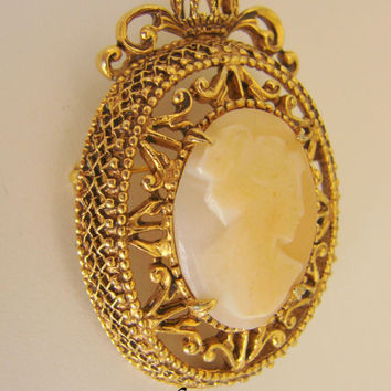 Vintage Florenza Designer Signed Hand Carved Shell Cameo Brooch Ornate Goldtone Jewelry Jewellery