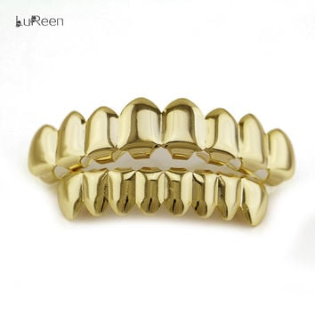 LuReen Fashion Gold Teeth Grillz Hip Hop Top & Bottom Grills Dental Punk Halloween Vampire Teeth Caps Jewelry LD0007