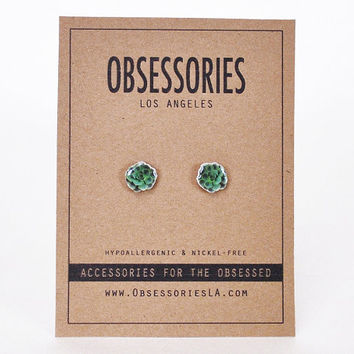 Green Succulent Earrings Cactus Cacti Plant Small Stud Earrings Post Succulent Jewelry Succulent Accessories Quirky Succulent Gift Idea