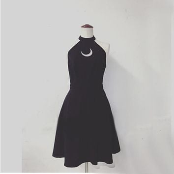 Women Sexy Black Halter Dress Hot Summer Party Dress Embroidery Moon Printing Out Design Off the Shoulder Short Dress