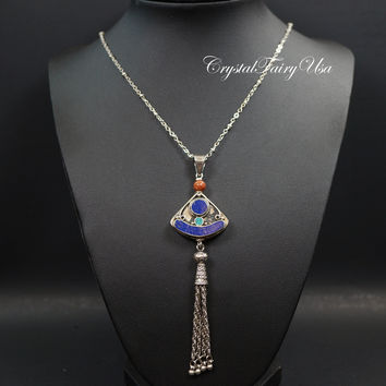 Lapis Necklace - Long Chain Lapis Lazuli Necklace Double Sides Lapis Jewelry  Handmade Nepal Style Beads Tassel Bohemian Necklace