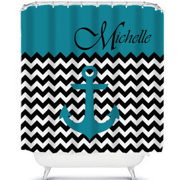 Teal Anchor & Black Chevron Personalized Shower Curtain