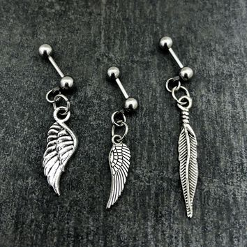 Lot of 3 tribal feather, angel wings Stainless Solid Steel 18g, 16g, 14g Helix, cartilage, tragus earring