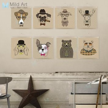 Vintage Retro Hipster Animal Head Deer Dog Wooden Framed Posters Living Room Wall Art Pictures Home Decor Canvas Painting Scroll