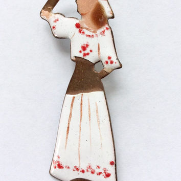 Copper Girl Brooch / 60s Copper Brooch / Copper and Enamel Pin / Vintage Pin / 60s Enamel Jewelry / 60s Costume Jewelry