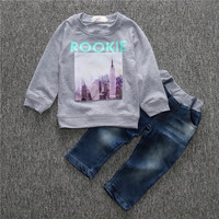 Cool baby boy clothing sets boys clothes long sleeve plaid shirt and jeans children clothing 2 pcs baby clothes