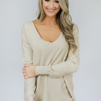 Soft Bliss Lace Down Back Sweater- Oatmeal