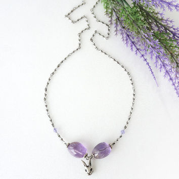 Tumbled Amethyst Gemstone Necklace with Bunny Head Charm on Stainless Steel Chain