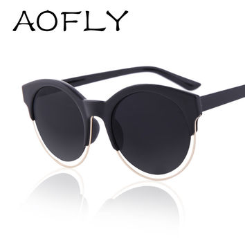 AOFLY Fashion Women SIDERAL Sunglasses Brand Design Retro Star Style Cat eye Round Mirror Sunglasses Oculos de sol UV400 AF2103