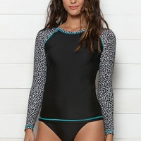 Volcom Wild Long Sleeve Rashguard Top - Womens Swimwear - Black