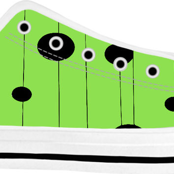 Canary green low tops, geometric lines and dots pattern shoes, stylish spring sneakers design