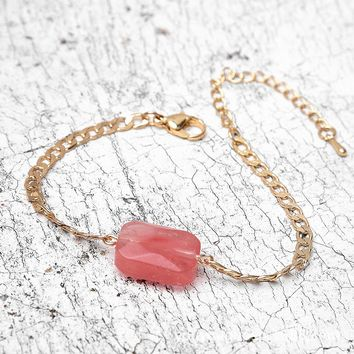 Fashionable Personality Pink Natural Stone Lady Bracelet-180319