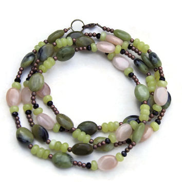 Avocado Green Peach Double Wrap Necklace, Semiprecious Stone Jewelry ALFAdesigns