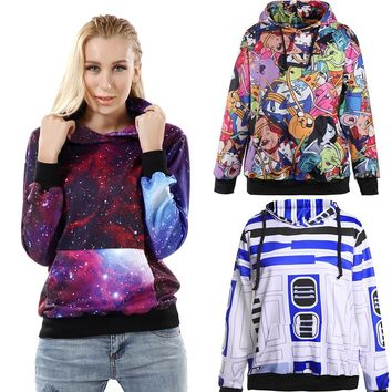 New Arrival 1000 Women Girl Galaxy Adventure Time STAR WARS weeds 3D Prints Hooded Sweatshirt Coat Suit Outside walking Hoodies