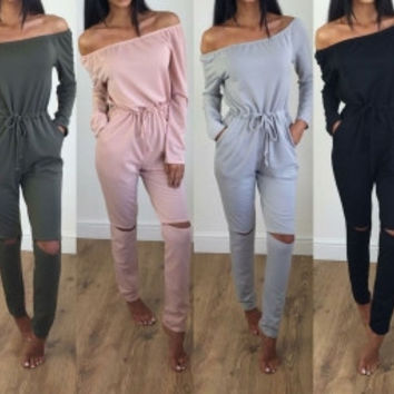 Autumn Long Sleeve Off Shoulder Cut-Out Jumpsuits
