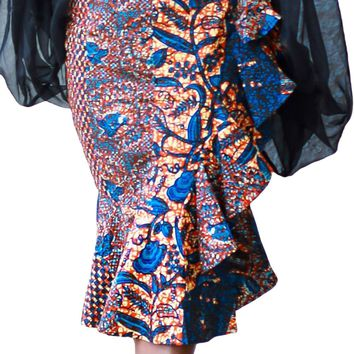 Blue Orange African Print Ruffle Trim Bodycon Skirt