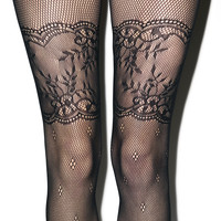 Pretty Polly Pretty Polly x Alice & Olivia Lace Fishnet Tights Black One