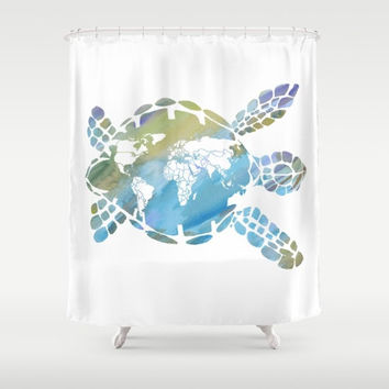 "Sea Turtle Shower Curtain - ""Mother Earth"" -  Watercolor Art, world map, Surf, beach, surfer, ecology, Earth teen decor, coastal bathroom"