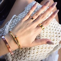 """Cartier"" Fashion Simple Cute Couple Rings Women Ring Rhinestone Ring G"