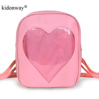 KIDONWAY Ita Bag Candy Pu Leather Backpacks for WomenTransparent Love Heart Shape School Bags School Backpack for Girls