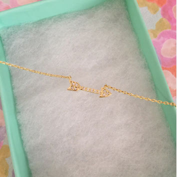 SALE-Tiny Gold Crystal Arrow Necklace,Women's Necklace,Cute Necklace,Bridesmaid Gift,Dainty Necklace,Mother's Day Gift,Valentine's Day Gift