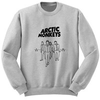 band arctic monkeys sweater Gray Sweatshirt Crewneck Men or Women for Unisex Size with variant colour