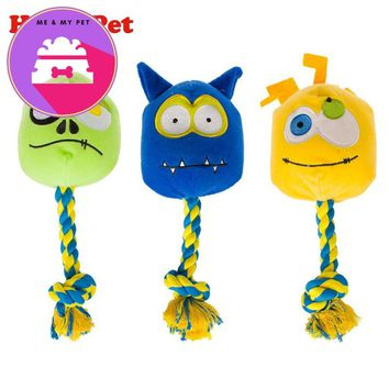 Dog Toys Pets Puppy Interactive Plush and Cotton Rope Chew Squeaker Sound Toy Monster Designs