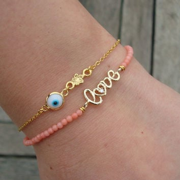 Letter Love Gemstone Bracelet - Gold Love Bracelet
