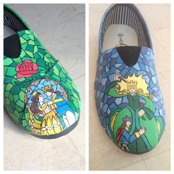 Beauty and the Beast stained glass shoes