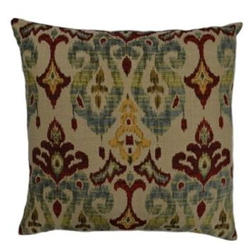 "24"" x 24"" sandoa old time damaskprint throw pillow with a feather/down insert and zippered removable cover"