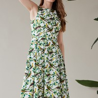 Jasmine Tropical Parrakeets Midi Dress | Emily and Fin