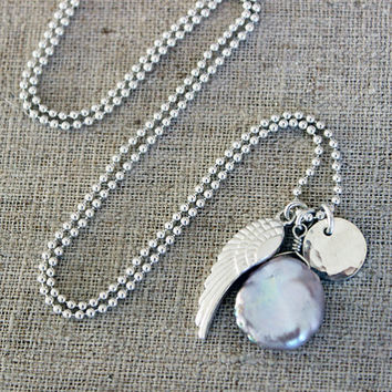 ANGELS + MERMAIDS // Keishi Pearl + Sterling Silver Charm Necklace