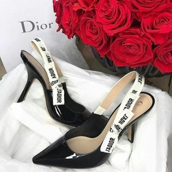 Dior Pumps Women Sandals Kitten heels with bows Word Flag Lace up High Heel Shoes B-ALS-XZ Black