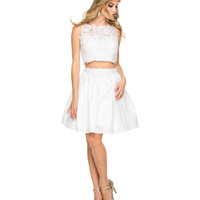 White Floral Lace Two Piece Dress 2015 Homecoming Dresses