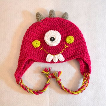 Ready To Ship - Childs Pink Monster Hat, Cyclops Monster, Crochet Winter Hat, Halloween Costume, Earflaps, Braided Tails