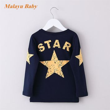 2017 Autumn New Five-pointed star Printed Long Sleeve Children Sweater Boy Girl Pullover TopFive-pointed star Shirts Sweatshirt