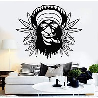 Vinyl Wall Decal Hippie Rastafarian Weed Marijuana Cannabis Stickers Mural Unique Gift (ig3673)