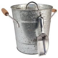 Ice Bucket & Scoop, Galvanized Silver, Ice Buckets