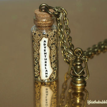 Adventureland Magical Necklace with a Bronze Lantern Charm Disneyland Disney World by Life is the Bubbles