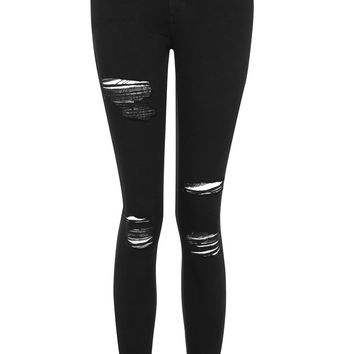 MOTO Black Super Rip Leigh Jeans | Topshop