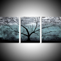 """ARTFINDER: triptych multi color 3 panel wall art color turquoise black white impasto tree in wood """"The Tree of life"""" turquoise edition 3 panel wall abstract canvas abstraction 48 x 20 """" other sizes available by Stuart Wright - """"The Tree of Life"""" impasto tr"""