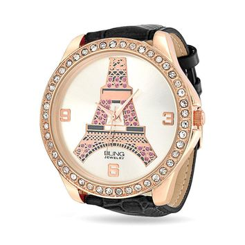 Eiffel Tower Paris Rose Gold Plated Watch Crystal Black Leather Band