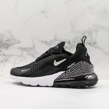 Nike Air Max 270 Black White Crystal Running Shoes